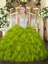 Olive Green Tulle Zipper Scoop Sleeveless Floor Length Sweet 16 Dress Beading and Ruffles