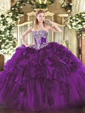 Floor Length Dark Purple Quinceanera Gowns Strapless Sleeveless Lace Up