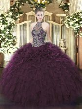 Suitable Dark Purple Sleeveless Organza Lace Up Sweet 16 Dresses for Sweet 16 and Quinceanera