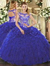 Beading and Ruffles Quince Ball Gowns Royal Blue Lace Up Cap Sleeves Floor Length