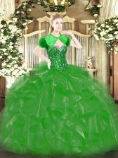 Green Ball Gowns Beading and Ruffles Sweet 16 Quinceanera Dress Lace Up Organza Sleeveless Floor Length