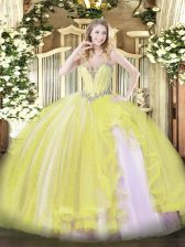 Floor Length Ball Gowns Sleeveless Yellow Quinceanera Dresses Lace Up