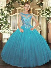 Perfect Scoop Sleeveless Lace Up Quinceanera Gown Teal Tulle