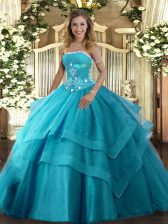 Custom Fit Tulle Sleeveless Floor Length Quinceanera Gowns and Beading and Ruffled Layers