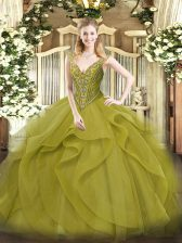 Amazing Olive Green Ball Gowns Tulle V-neck Sleeveless Beading and Ruffles Floor Length Lace Up Quinceanera Gown