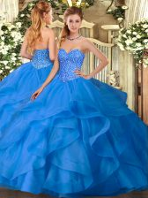 Elegant Ball Gowns Sweet 16 Dress Blue Sweetheart Tulle Sleeveless Floor Length Lace Up