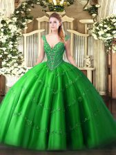 Fitting Green Tulle Lace Up 15 Quinceanera Dress Sleeveless Floor Length Beading and Appliques