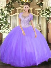 Sleeveless Floor Length Beading Clasp Handle Sweet 16 Quinceanera Dress with Lavender