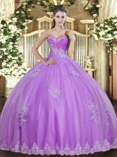 Sweetheart Sleeveless Ball Gown Prom Dress Floor Length Beading and Appliques Lilac Tulle