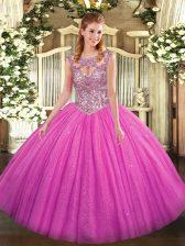 On Sale Tulle Sleeveless Floor Length Sweet 16 Dresses and Beading