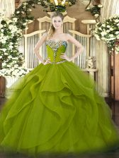 Noble Sweetheart Sleeveless 15 Quinceanera Dress Floor Length Beading and Ruffles Olive Green Tulle