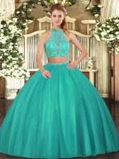 Exceptional Turquoise Two Pieces Beading Vestidos de Quinceanera Criss Cross Tulle Sleeveless Floor Length