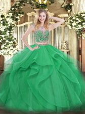 Edgy Green Quince Ball Gowns Military Ball and Sweet 16 and Quinceanera with Beading and Ruffles Scoop Sleeveless Lace Up