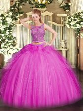 Dazzling Sleeveless Floor Length Beading and Ruffles Lace Up 15 Quinceanera Dress with Fuchsia