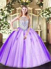 Chic Lavender Zipper Scoop Beading and Appliques Sweet 16 Quinceanera Dress Tulle Sleeveless
