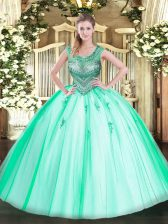 Sleeveless Floor Length Beading Lace Up Sweet 16 Dresses with Apple Green