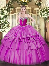 Custom Design Sleeveless Lace Up Floor Length Beading and Ruffled Layers Quinceanera Gowns