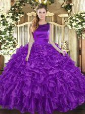 Fabulous Ball Gowns Quinceanera Gowns Eggplant Purple Scoop Organza Sleeveless Floor Length Lace Up
