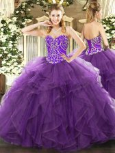 Trendy Eggplant Purple Sweetheart Lace Up Beading and Ruffles Ball Gown Prom Dress Sleeveless