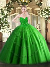 Tulle Sweetheart Sleeveless Lace Up Appliques Vestidos de Quinceanera in Green