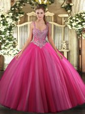 Hot Pink Ball Gowns Tulle V-neck Sleeveless Beading Floor Length Lace Up Sweet 16 Quinceanera Dress