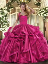 Halter Top Sleeveless Lace Up Quinceanera Dress Fuchsia Organza