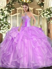 Fine Beading and Ruffles Quinceanera Gowns Lilac Lace Up Sleeveless Floor Length