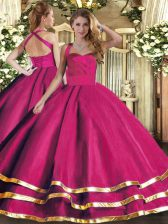 Pretty Sleeveless Floor Length Ruffled Layers Lace Up Sweet 16 Quinceanera Dress with Hot Pink