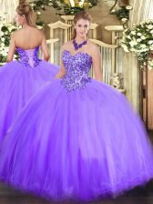 Lavender Sweetheart Lace Up Appliques 15 Quinceanera Dress Sleeveless