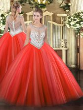Cheap Floor Length Coral Red Quince Ball Gowns Scoop Sleeveless Zipper
