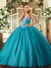 Teal Lace Up Straps Beading Quinceanera Dress Tulle Sleeveless