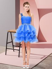 Simple Sleeveless Beading and Ruffled Layers Lace Up