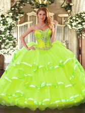 Organza Sweetheart Sleeveless Lace Up Beading and Ruffled Layers 15th Birthday Dress in Yellow Green