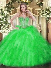 Custom Made Green Tulle Lace Up Sweetheart Sleeveless Floor Length Quinceanera Dress Beading and Ruffles