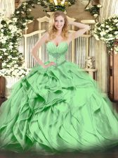 Graceful Sweetheart Lace Up Beading and Ruffles Quinceanera Dress Sleeveless