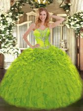 Gorgeous Olive Green Sweetheart Lace Up Beading and Ruffles Quinceanera Gowns Sleeveless