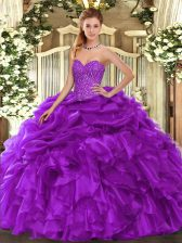 Customized Purple Lace Up Quinceanera Gown Beading and Ruffles and Pick Ups Sleeveless Floor Length