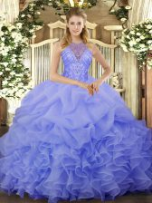 Free and Easy Organza Sleeveless Floor Length 15 Quinceanera Dress and Beading and Ruffles and Pick Ups