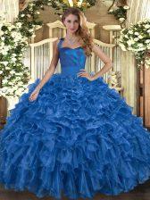 Ruffles 15 Quinceanera Dress Blue Lace Up Sleeveless Floor Length