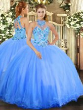 Nice Sleeveless Tulle Floor Length Lace Up 15 Quinceanera Dress in Blue with Embroidery