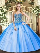 Sleeveless Floor Length Beading and Appliques Lace Up Quinceanera Dress with Blue