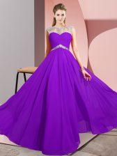Sophisticated Purple Chiffon Clasp Handle Scoop Sleeveless Floor Length Evening Dress Beading