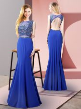 Perfect Floor Length Mermaid Sleeveless Royal Blue Evening Dress Backless