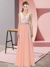 Fitting Sleeveless Backless Floor Length Beading Evening Dress