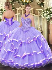 Lovely Floor Length Lace Up Sweet 16 Dress Lavender for Military Ball and Sweet 16 and Quinceanera with Appliques and Ruffled Layers
