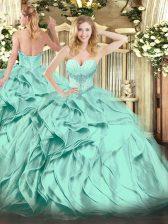 Sweetheart Sleeveless Lace Up Sweet 16 Dress Turquoise Organza