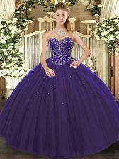 Purple Ball Gowns Sweetheart Sleeveless Tulle Floor Length Lace Up Beading Quinceanera Gown