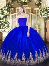 Smart Tulle Sleeveless Floor Length Sweet 16 Dresses and Appliques
