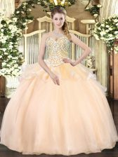 Organza Sleeveless Floor Length Quinceanera Gown and Beading