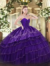 Sleeveless Organza and Taffeta Floor Length Zipper Quinceanera Dress in Purple with Embroidery and Ruffled Layers